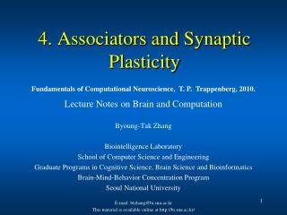 4. Associators and Synaptic Plasticity