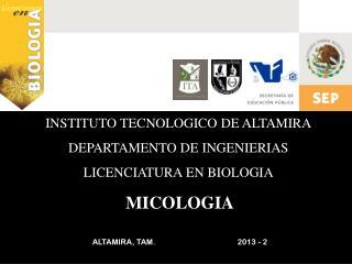 INSTITUTO TECNOLOGICO DE ALTAMIRA DEPARTAMENTO DE INGENIERIAS LICENCIATURA EN BIOLOGIA