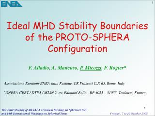 Ideal MHD Stability Boundaries of the PROTO-SPHERA Configuration