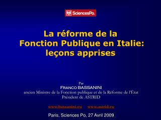 La réforme de la  Fonction Publique en Italie:  leçons apprises