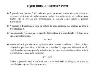 EQUILÍBRIO HIDROSTÁTICO