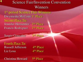 Science Fair/Invention Convention Winners