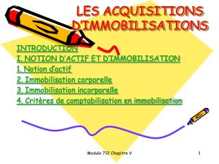 LES ACQUISITIONS D'IMMOBILISATIONS