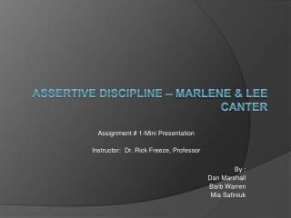Assertive Discipline   Marlene  Lee Canter