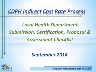 Local Health Department Submission, Certification, Proposal & Assessment Checklist  September 2014