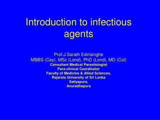 Introduction to infectious agents