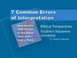 7 Common Errors  of Interpretation