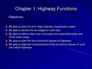 Chapter 1: Highway Functions