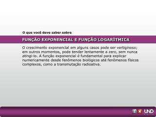 FUNÇÃO EXPONENCIAL E FUNÇÃO LOGARÍTMICA