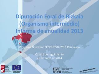 Diputación Foral de  Bizkaia (Organismo intermedio) Informe de anualidad 2013