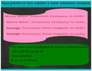 Waste Water Treatment Company in India, noida