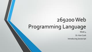 269200 Web Programming Language
