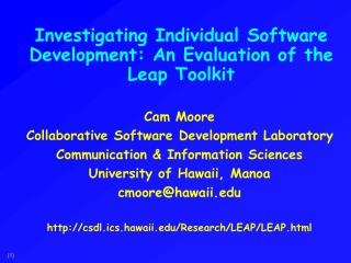 Investigating Individual Software Development: An Evaluation of the Leap Toolkit