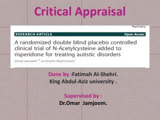 C ritical Appraisal