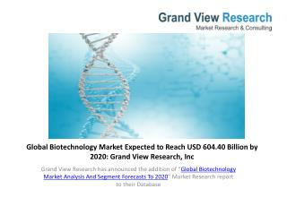 Global Biotechnology Market Demand To 2020.