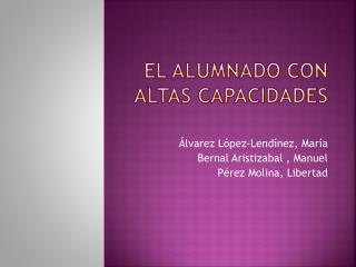 EL ALUMNADO CON ALTAS CAPACIDADES