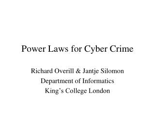 Power Laws for Cyber Crime