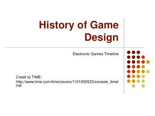 History of Game Design