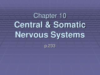 Chapter 10 Central  Somatic Nervous Systems