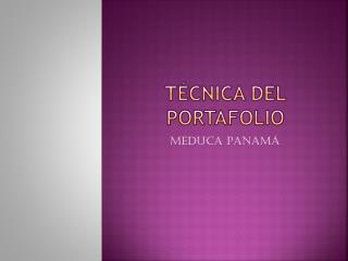 T�CNICA DEL PORTAFOLIO