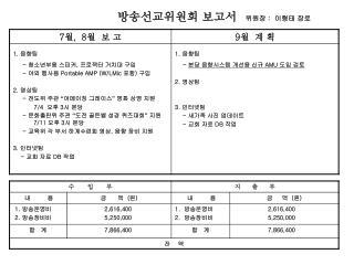 방송선교위원회 보고서 위원장  :   이형태 장로