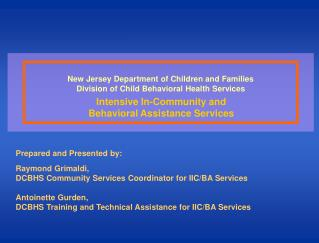 New Jersey Department of Children and Families Division of Child Behavioral Health Services
