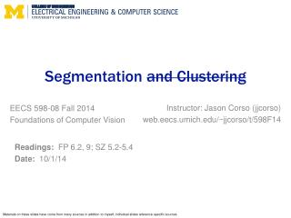 Segmentation  and Clustering