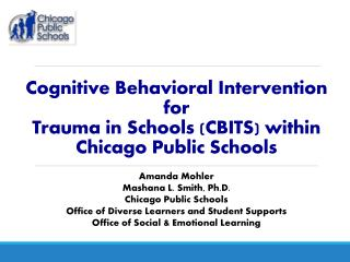Cognitive Behavioral Intervention for  Trauma in Schools (CBITS) within  Chicago Public Schools
