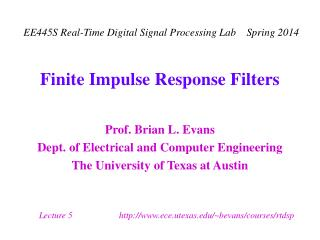 Finite Impulse Response Filters