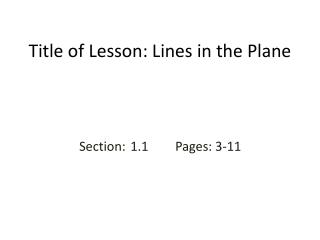 Title of Lesson: Lines in the Plane