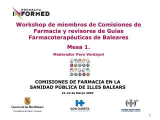 COMISIONES DE FARMACIA EN LA SANIDAD PÚBLICA DE ILLES BALEARS 21-22 de Marzo 2007