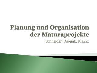 Planung und Organisation der  Maturaprojekte