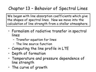 Chapter 13 – Behavior of Spectral Lines
