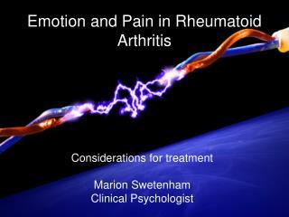 Emotion  and Pain in Rheumatoid Arthritis