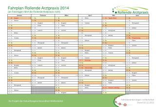 Fahrplan Rollende Arztpraxis 2014 (an Feiertagen fährt die Rollende Arztpraxis nicht)