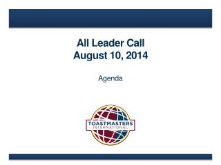 All Leader Call August 10, 2014