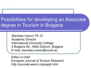 Possibilities for developing an Associate degree in Tourism in Bulgaria