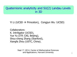 Quaternionic analyticity and SU(2 ) Landau  Levels  in  3D