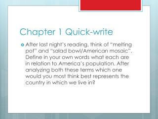 Chapter 1 Quick-write