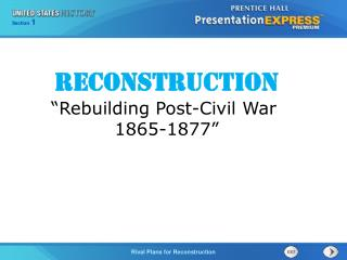 "Reconstruction ""Rebuilding Post-Civil War  1865-1877"""