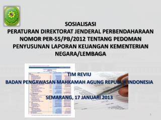TIM REVIU BADAN PENGAWASAN MAHKAMAH AGUNG REPUBLIK INDONESIA SEMARANG, 17 JANUARI 2013