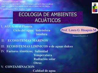 ECOLOGIA DE AMBIENTES ACUÁTICOS