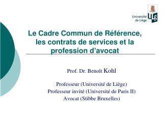 Le Cadre Commun de Référence, les contrats de services et la profession d'avocat