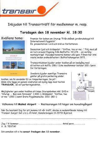 Inbjudan till  Transairträff  för medlemmar m. resp. Torsdagen den 18 november kl. 18:30