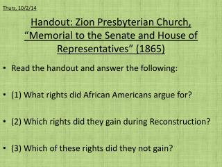 "Handout: Zion Presbyterian Church, ""Memorial to the Senate and House of Representatives"" (1865)"