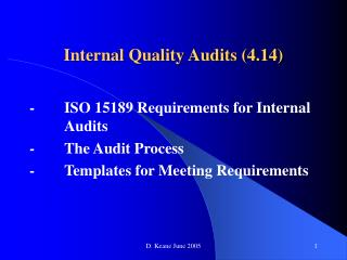 Internal Quality Audits 4.14