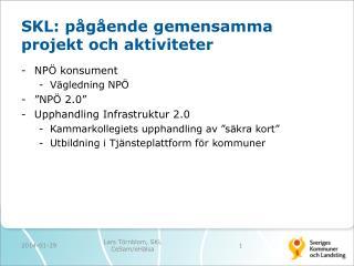 SKL: pågående gemensamma projekt och aktiviteter