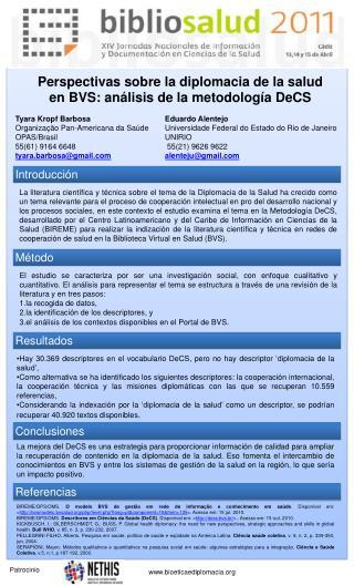Perspectivas sobre la diplomacia de la salud en BVS: análisis de la metodología DeCS