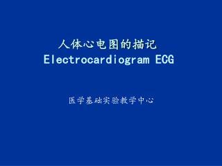 人体心电图的描记 Electrocardiogram ECG