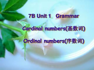 7B Unit 1 Grammar  Cardinal numbers( 基数词 ) Ordinal numbers( 序数词 )